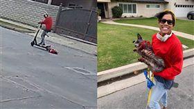 虐狗,拖行,狗,遛狗,電動滑板車,美國,加州,拖行, 圖/翻攝自Brandon Sanders臉書 https://goo.gl/xTrvAD
