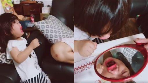 偷拿媽媽口紅塗成「香腸小嘴」…妹妹一照鏡子被自己嚇哭圖翻攝自爆廢公社公開版