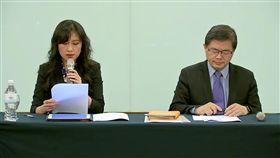行政院發言人Kolas Yotaka(左)與準行政院秘書長李孟諺(右),召開記者會,公布蘇貞昌首波內閣