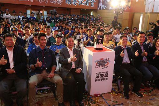 ▲陳偉殷出席大專院校系際盃棒球爭霸賽記者會。(圖/體育署提供)