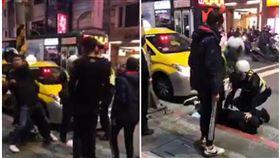 台北市西門町1名張男怒甩女友巴掌,傅男與2名友人路過竟痛毆張男,最後遭警方壓制並依傷害罪送辦(翻攝《爆料公社》)