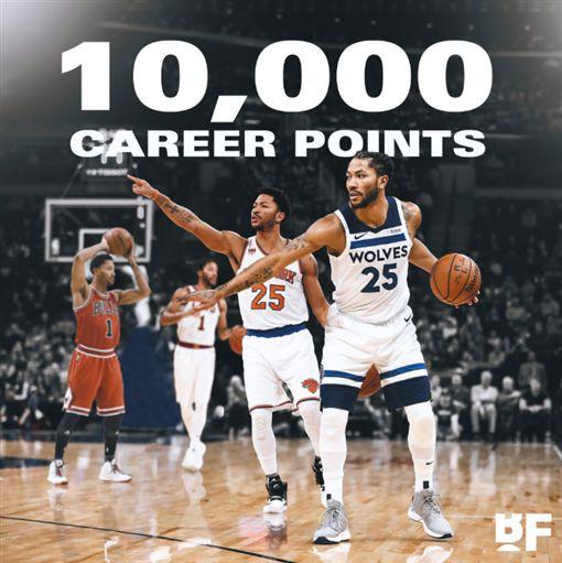 NBA/玫瑰生涯萬分!灰狼慘遭屠殺NBA,明尼蘇達灰狼,Jimmy Butler,Derrick Rose,費城七六人翻攝自推特