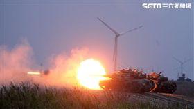 國軍、共軍、M60A3戰車實施火砲射擊。(記者邱榮吉/台中拍攝)