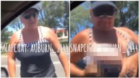 澳洲,雪梨,行車糾紛,胸部,車頭(圖/翻攝自YouTube)