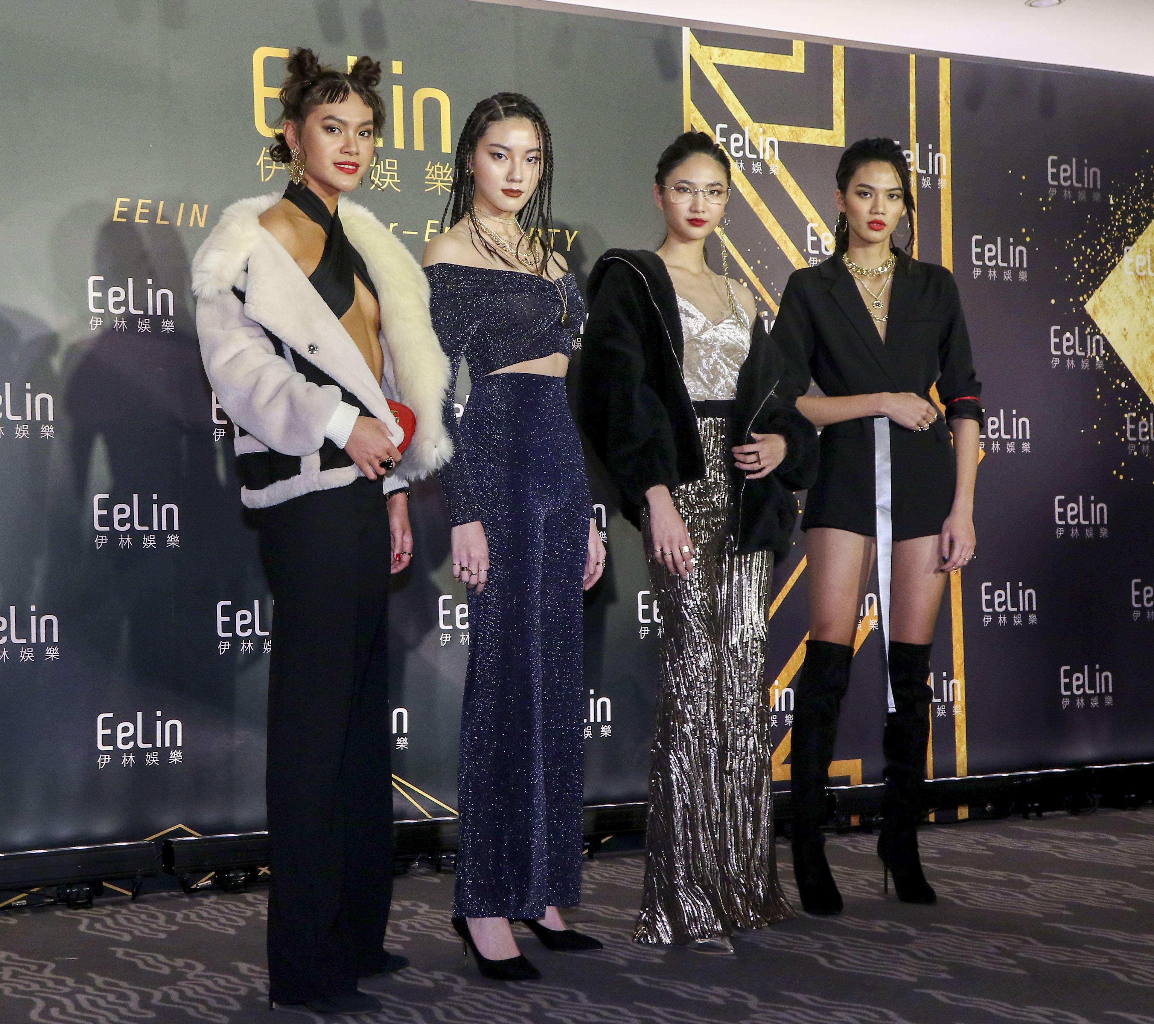 伊林娛樂時尚尾牙派對,女模周祥蕙、賴蕾安、張念慈、陳詠芯。(記者林士傑/攝影)