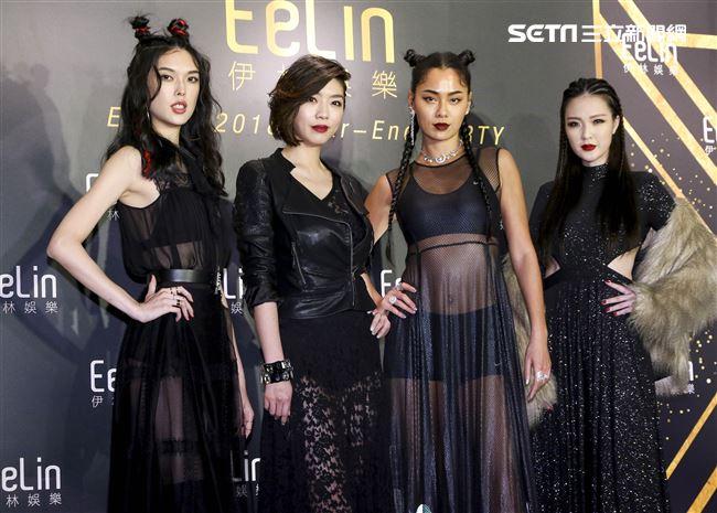伊林娛樂時尚尾牙派對,名模王思偉、吳品萱、王麗雅、王尹平。(記者林士傑/攝影)