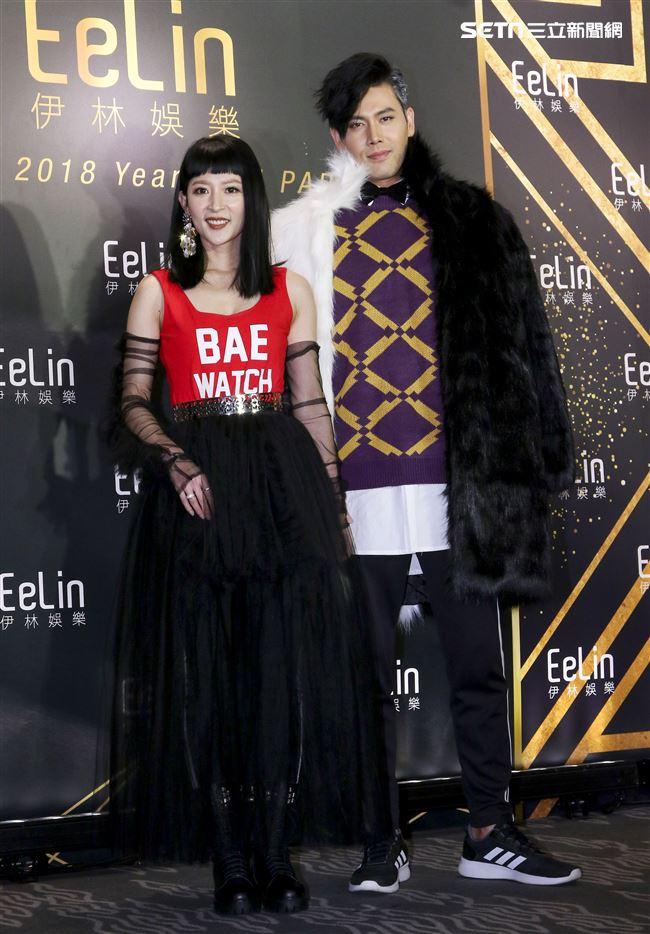 伊林娛樂時尚尾牙派對,藝人余秉諺與王依蕾。(記者林士傑/攝影)
