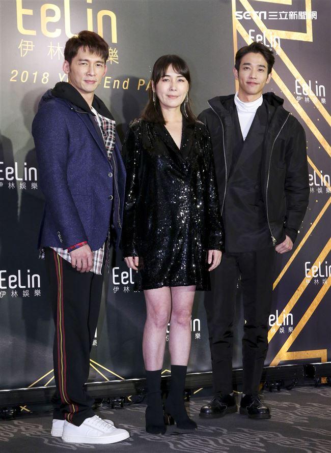 伊林娛樂時尚尾牙派對,依林娛樂總經理陳婉若與藝人溫昇豪、劉以豪。(記者林士傑/攝影)