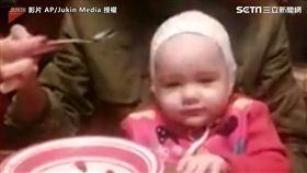 ▲小寶寶沒吃到食物秒變臉。(圖/AP/Jukin Media授權)