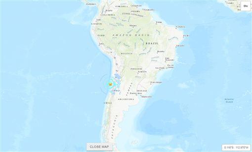 美國地質調查所(USGS)表示,智利北中部沿岸今日晚間發生規模6.7地震。(圖/翻攝自USGS))
