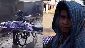 印度孝子單車載母屍赤腳走5公里下葬。(圖/翻攝自GOSSIP NEWS  YouTube)