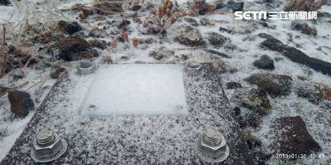 玉山降初雪。(圖/氣象局提供)
