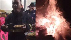 大陸消防隊員救火的暖心舉動感動百萬網友。(圖/翻攝自微博)