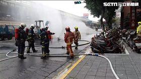台北市中山區瓦斯管線遭挖破漏氣現場(翻攝畫面)