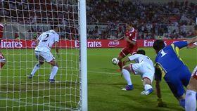 ▲敘利亞踢進超前的一球。(圖/取自YouTube畫面)