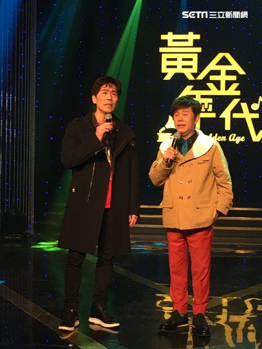黃西田、羅時豐一同參加華視《黃金年代》節目錄影。(圖/常朝貴攝影)