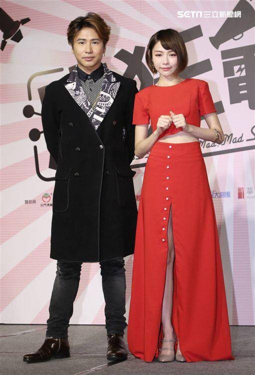 林明禎、歐漢聲出席電影《瘋狂電視台瘋電影》記者會。(圖/記者林士傑攝影)
