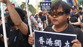 港民陣發起十一遊行 港獨團體參加在中國大陸慶祝「十一」國慶之際,香港民陣1日發起遊行,抗議北京和港府的政治打壓,有10多名學生獨立聯盟成員參加。中央社記者張謙香港攝 107年10月1日