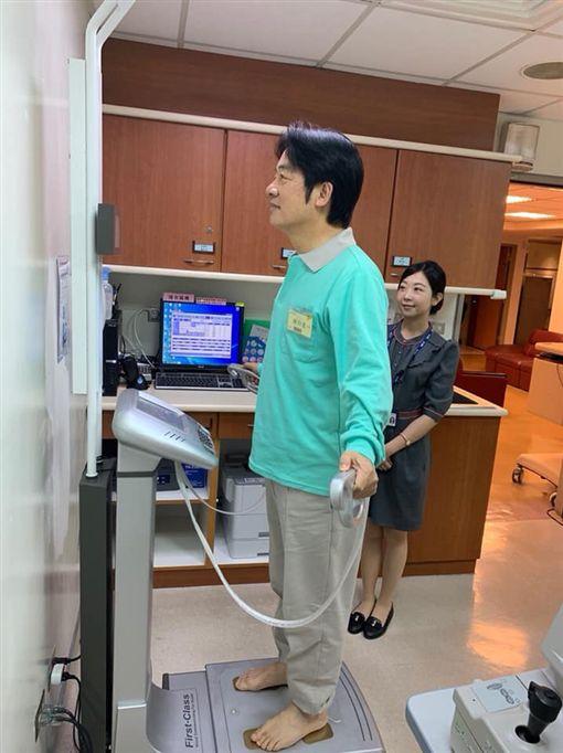 前行政院長賴清德25日赴成大醫院進行健康檢查。(圖/翻攝賴清德臉書)