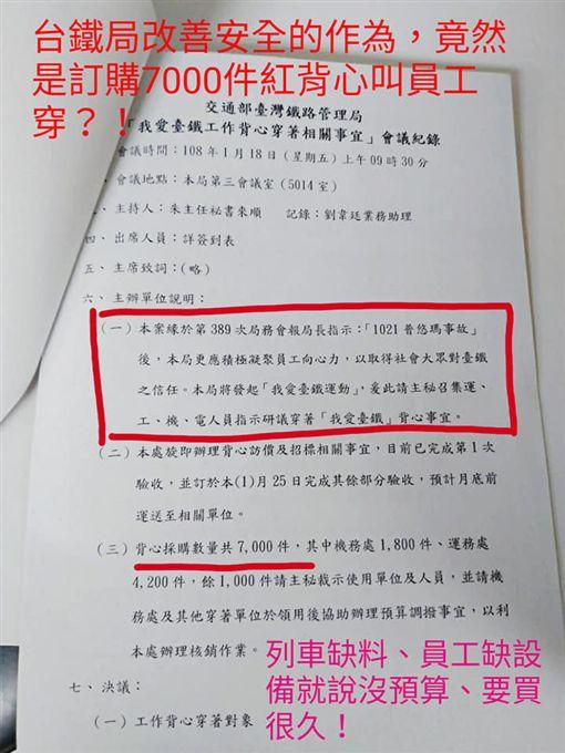 台鐵採購7千件「我愛台鐵」背心 圖/翻攝自台灣鐵路產業工會臉書