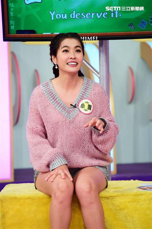 小嫻參加華視《天才衝衝衝》節目錄影。(圖/華視提供)