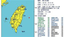 0130地震(圖/翻攝自中央氣象局)