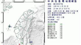 高雄,地震,震央,規模,級數,中央氣象局