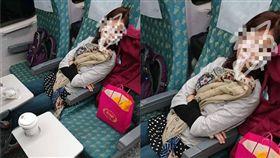 女子搭高鐵佔位自由座。(圖/翻攝自爆怨公社)