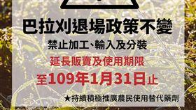 農藥巴拉刈存量仍多 延至109年2月起禁用行政院農委會動植物防疫檢疫局盤點市面上的「24%巴拉刈溶液」庫存量,發現還有約1年的用量,原訂108年2月起禁止分裝、販售及使用,決議延至109年2月1日起禁止販售及使用。(防檢局提供)中央社記者楊淑閔傳真 108年1月30日