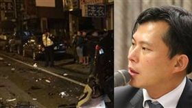 台中酒駕累犯車禍現場,黃國昌組合圖資料照