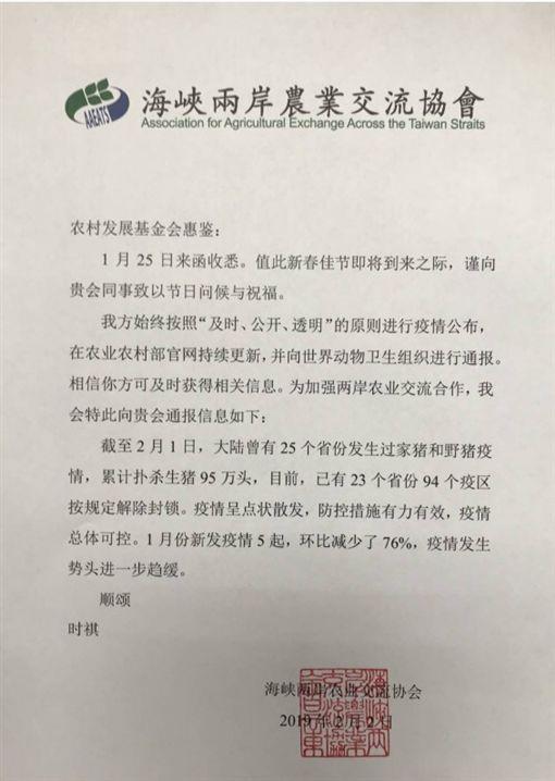對岸的「海峽兩岸農業交流協會」2日上午終於傳真給我方的農村發展基金會,說明中國疫情近況。(翻攝畫面)