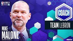 ▲金塊總教練馬龍首度擔任明星賽總教練工作。(圖/翻攝自2019 NBA All-Star推特)