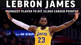 ▲『小皇帝』詹姆斯(LeBron James)成為NBA史上最年輕的生涯32000分得主。(圖/翻攝自推特)