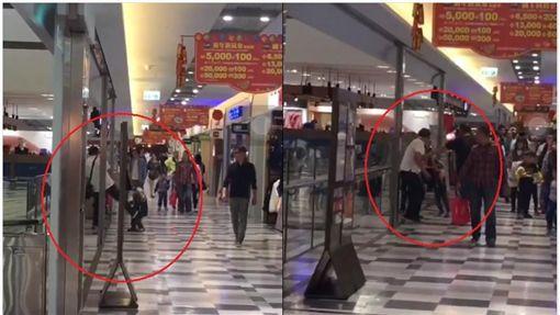 台南.南紡購物中心,爆料公社,家暴,踹兒(圖/翻攝爆料公社)