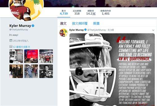 ▲莫瑞透過推特表達專心打美式足球的意願。(圖/翻攝自莫瑞推特)