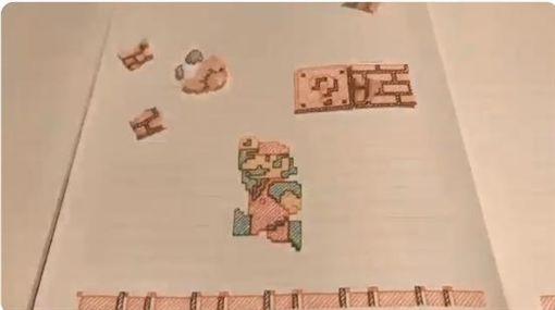 電玩《超級瑪利歐》,手繪,逐格動畫(圖/翻攝自如月二重推特)
