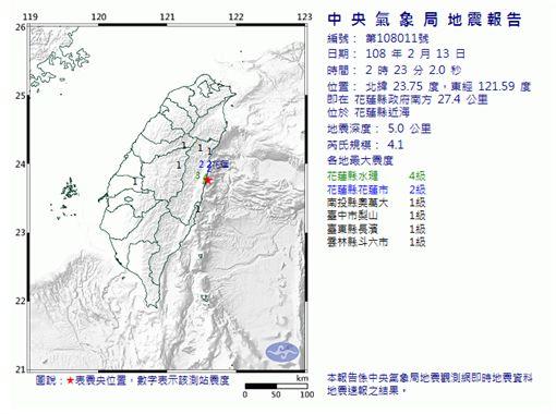 地震,嘉義,中央氣象局 圖/翻攝自中央氣象局