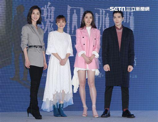 「魂囚西門」主要演員蕭敬騰、郭碧婷、謝盈萱、鄭宜農。(記者邱榮吉/攝影)
