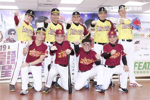 由臺灣閃亮之星明星棒球聯隊及中華民國職棒退役聯盟舉辦的2019明星公益棒球賽關懷偏鄉失智老人關注並協助弱勢,閃亮之星明星棒球隊大合照。(記者林士傑/攝影)