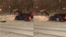 不爽愛車被雪球砸!呼麻女暴走「180度迴轉」衝撞人群 圖/翻攝自臉書