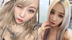 泉麻那(左)竟意外撞臉台灣「情色女王」雪碧。(圖/翻攝自泉麻那推特/雪碧臉書)