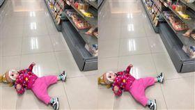不給買麵包!1歲女娃路倒耍賴 網友勸:抓起來打(圖/爆廢公社)