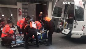 台北市大同區男子上吊自殺送醫現場(讀者提供)