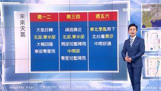明日北台灣回暖 下周天氣一張圖秒懂