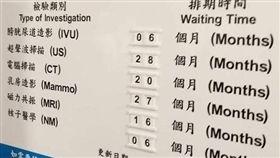 網友在臉書分享香港醫院的檢查排程表。