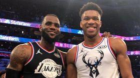 NBA/大逆轉!詹皇隊力克字母哥隊 NBA,2019全明星,Giannis Antetokounmpo,LeBron James 翻攝自推特