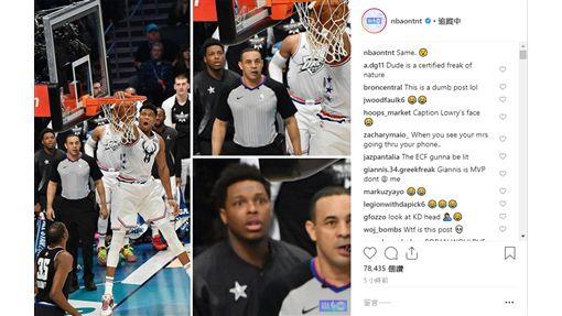 ▲裁判和羅利看『字母哥』灌籃的表情雷同。(圖/翻攝自NBA on TNT IG)
