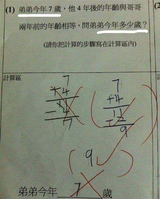超傻眼數學題讓網友直呼邏輯錯亂。(圖/取自爆廢公社)