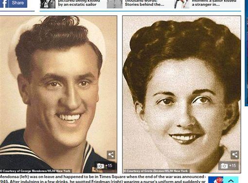 二戰「勝利之吻」名照水手逝世,享壽95歲。(圖/翻攝自每日郵報)
