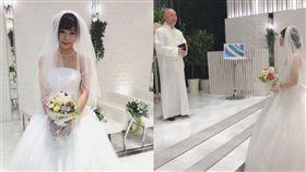 曾公開對結婚沒期待的紗倉真菜突然在日本舉行婚禮。(圖/翻攝自微博)